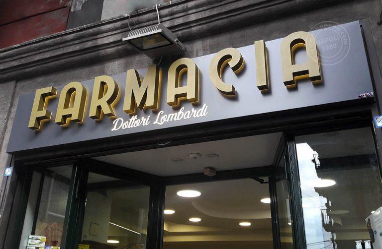 Insegne per farmacie su box in alluminio con lettere in acciaio effetto gold