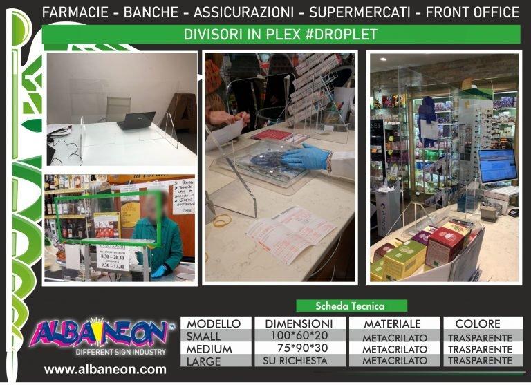 parafiato in plastica trasparente. Protezione. Separatori e divisori in plexiglass per banchi, uffici, farmacie.