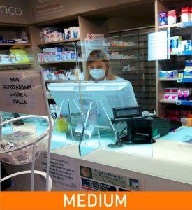 parafiato da banco farmacie in plexiglass trasparente