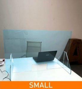 Divisorio parafiato separatore per scrivanie in plexiglass trasparente da 5mm