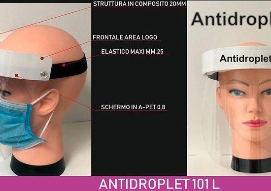 visiera parafiato rigida antidroplet 101 con logo