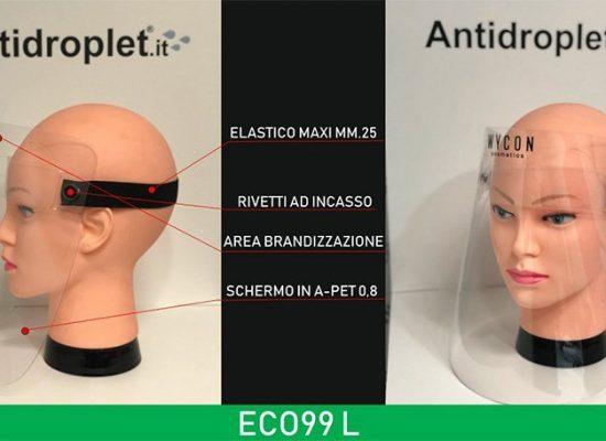 Visiera para schizzi in plastica extra light, comoda e leggera da indossare. Modello ECO99 con personalizzazione logo.