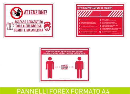 Cartelli anti contagio dimensioni A4 su forex da 3mm