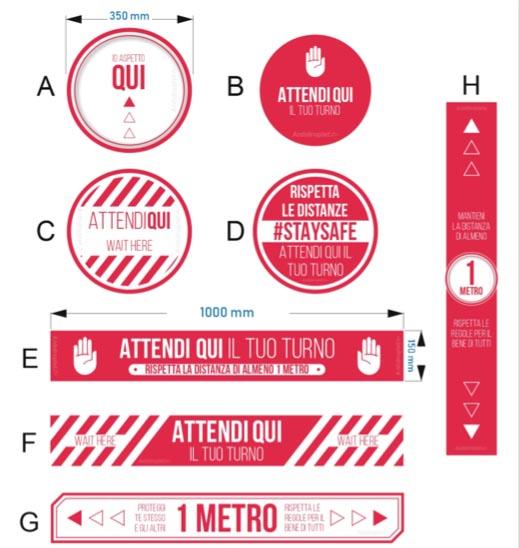 Kit adesivi distanziamento di sicurezza calpestabili, disponibili in varie versioni.