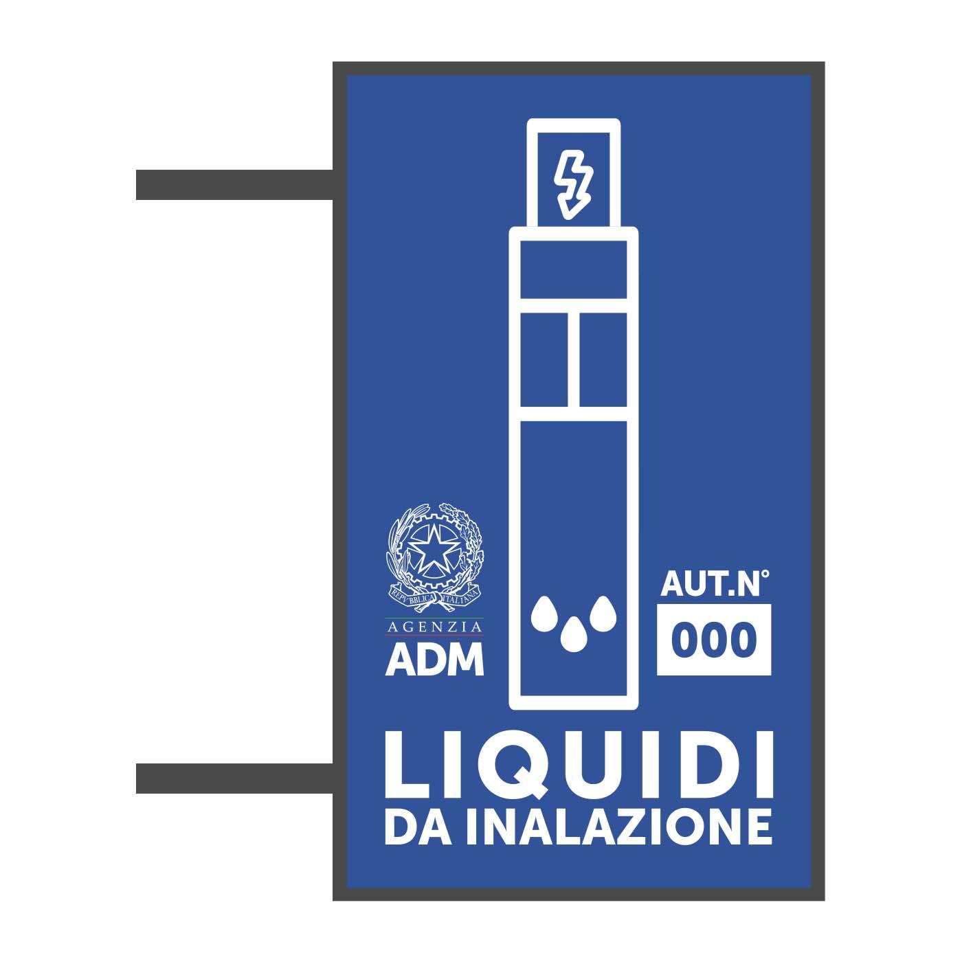 Insegne per liquidi da inalazione come a norma di legge come richiesto dalla ADM