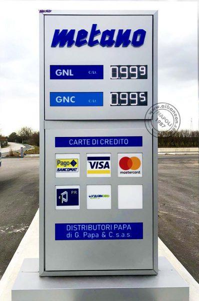Totem luminosi per distributori carburanti con prezziari a led ad alta luminosità